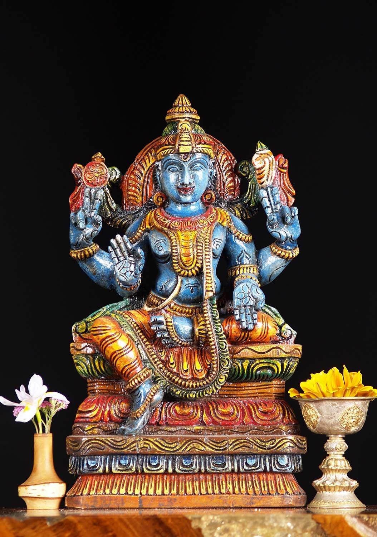 Sold Wooden Blue Vishnu Statue 18 Quot 76w6dc Hindu Gods