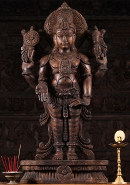 Wooden Standing Vishnu Sculpture 36