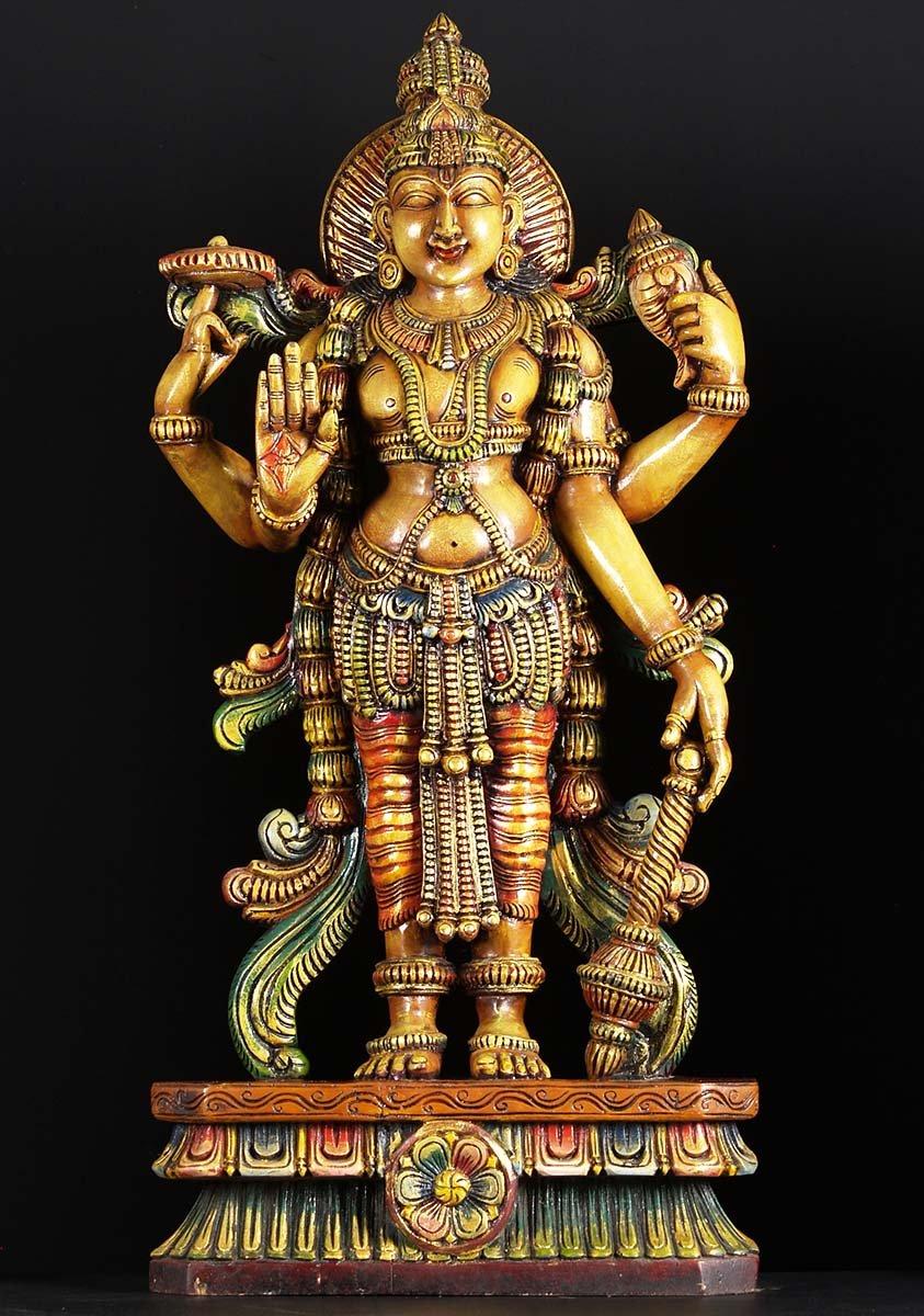 Sold Wooden Colored Vishnu Statue 38 Quot 76w2b Hindu Gods
