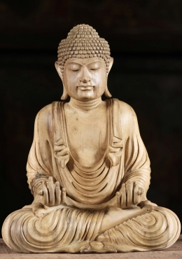 Wood Meditating Buddha with His Hands Open 10