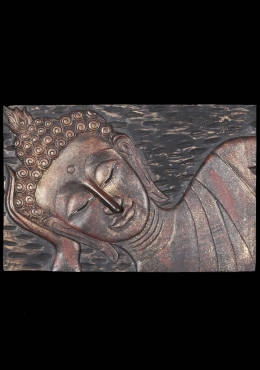 Wood Reclining Buddha Wall Panel 36
