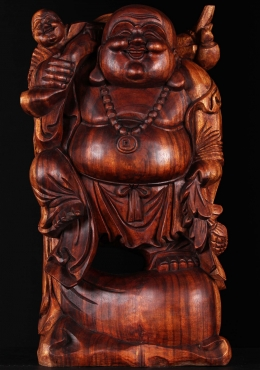 Wooden Buddha With Child On His Shoulder 24