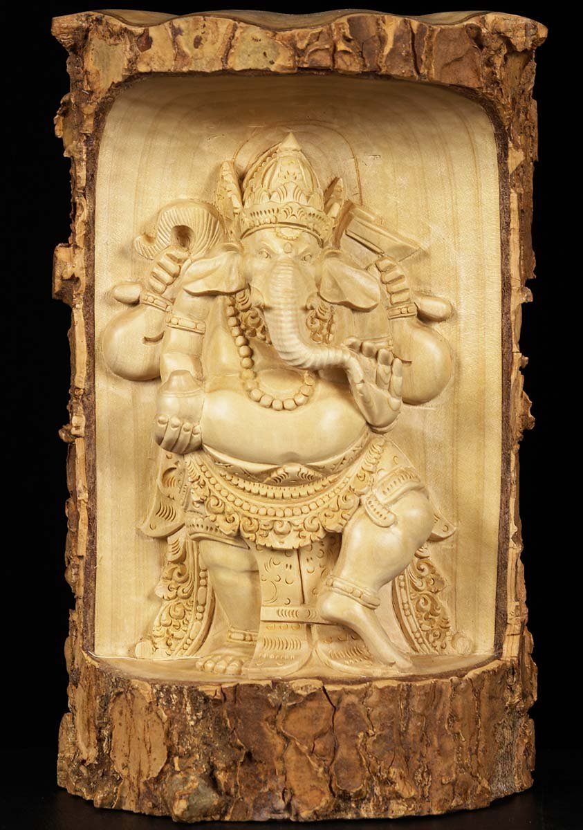 SOLD Natural Wooden Ganesh Wall Hanging 11\