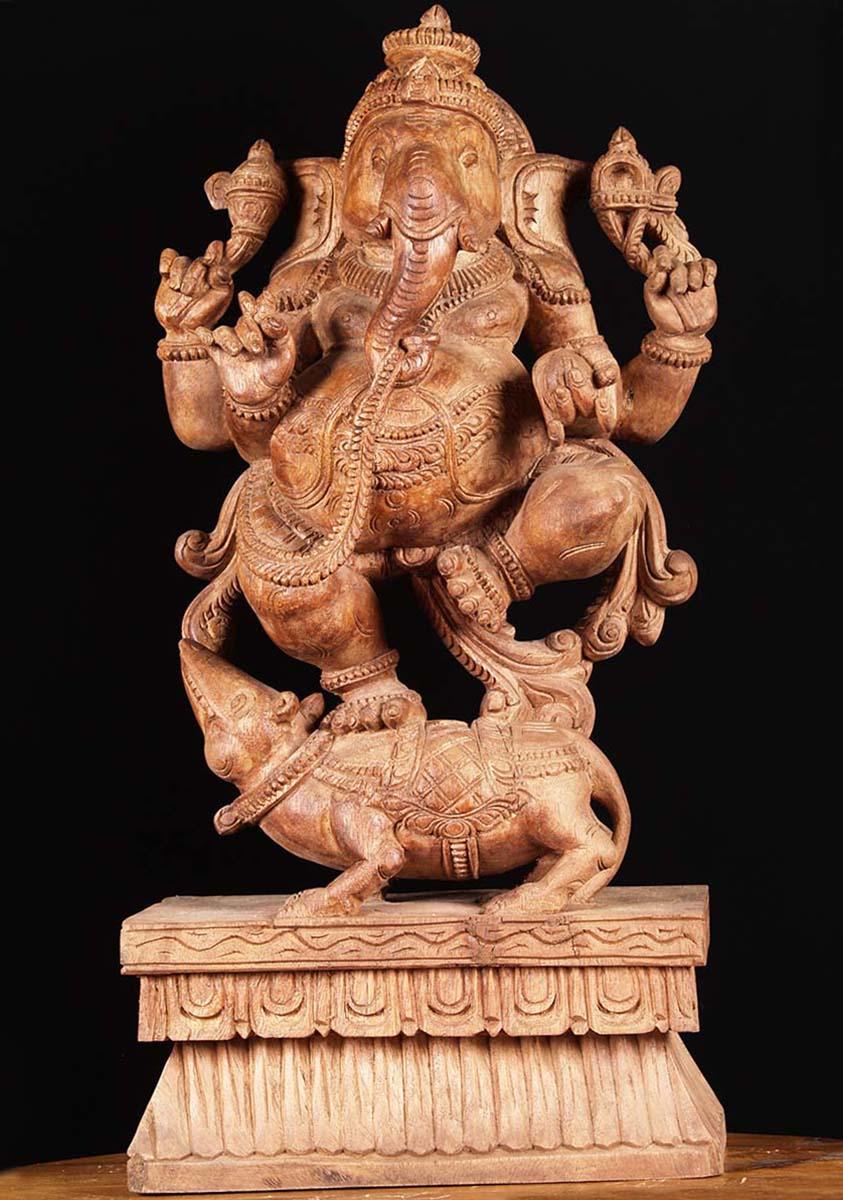 Sold wooden ganesha carving quot w ay hindu gods
