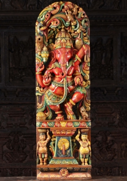 Wood Red Ganesh Dancing Beneath Canopy 48