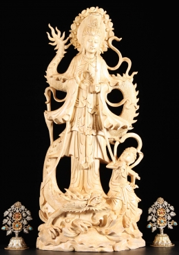 Wooden Kwan Yin Statue with Dragon 25