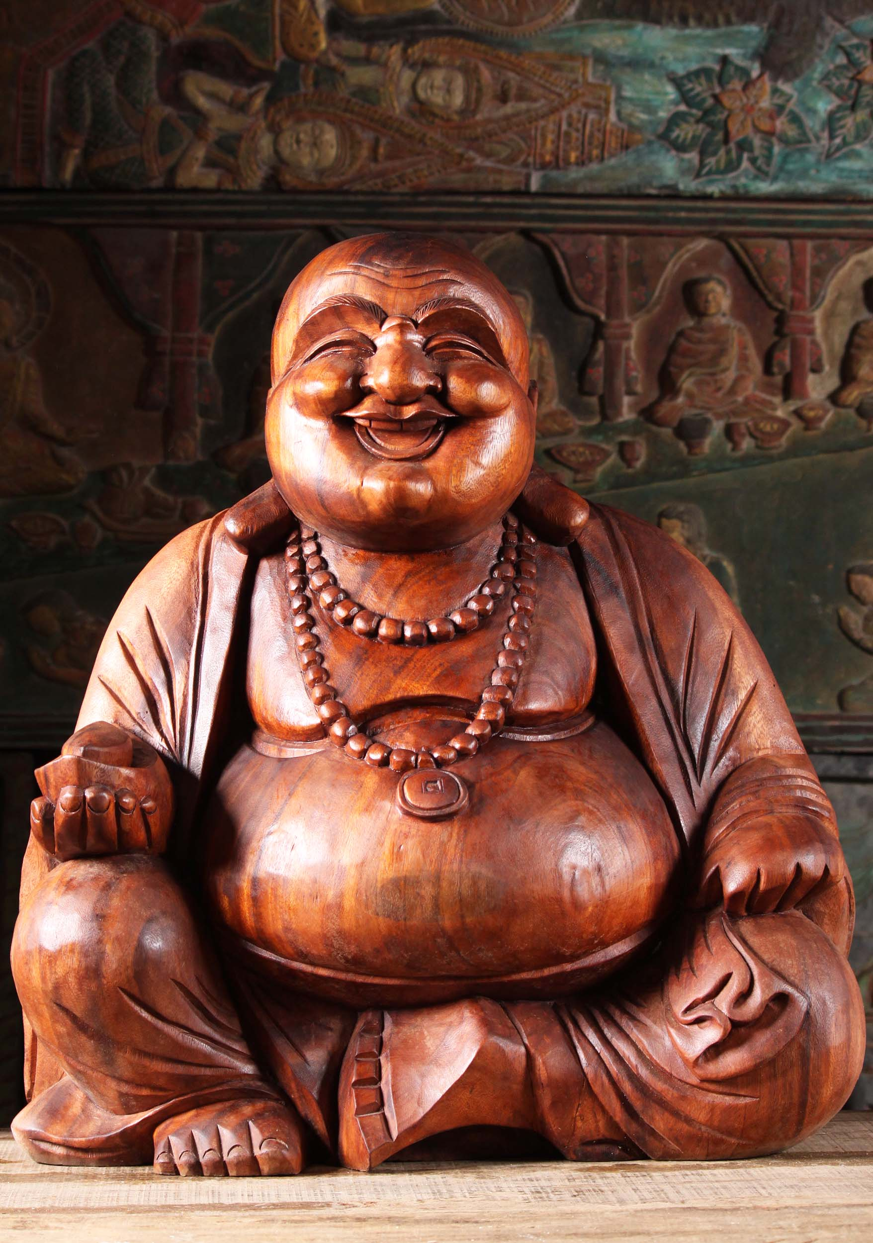 Wooden Sitting Fat Amp Happy Buddha Statue 24 Quot 4bw4z