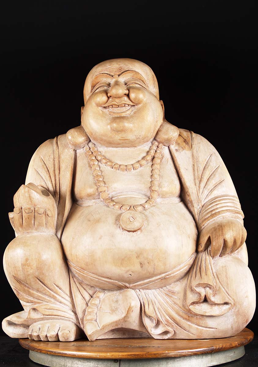 Sold Large Wooden Fat Amp Happy Buddha Statue 27 Quot 4bw5