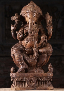 Wooden Ganapathi Sculpture Holding Laddus 24