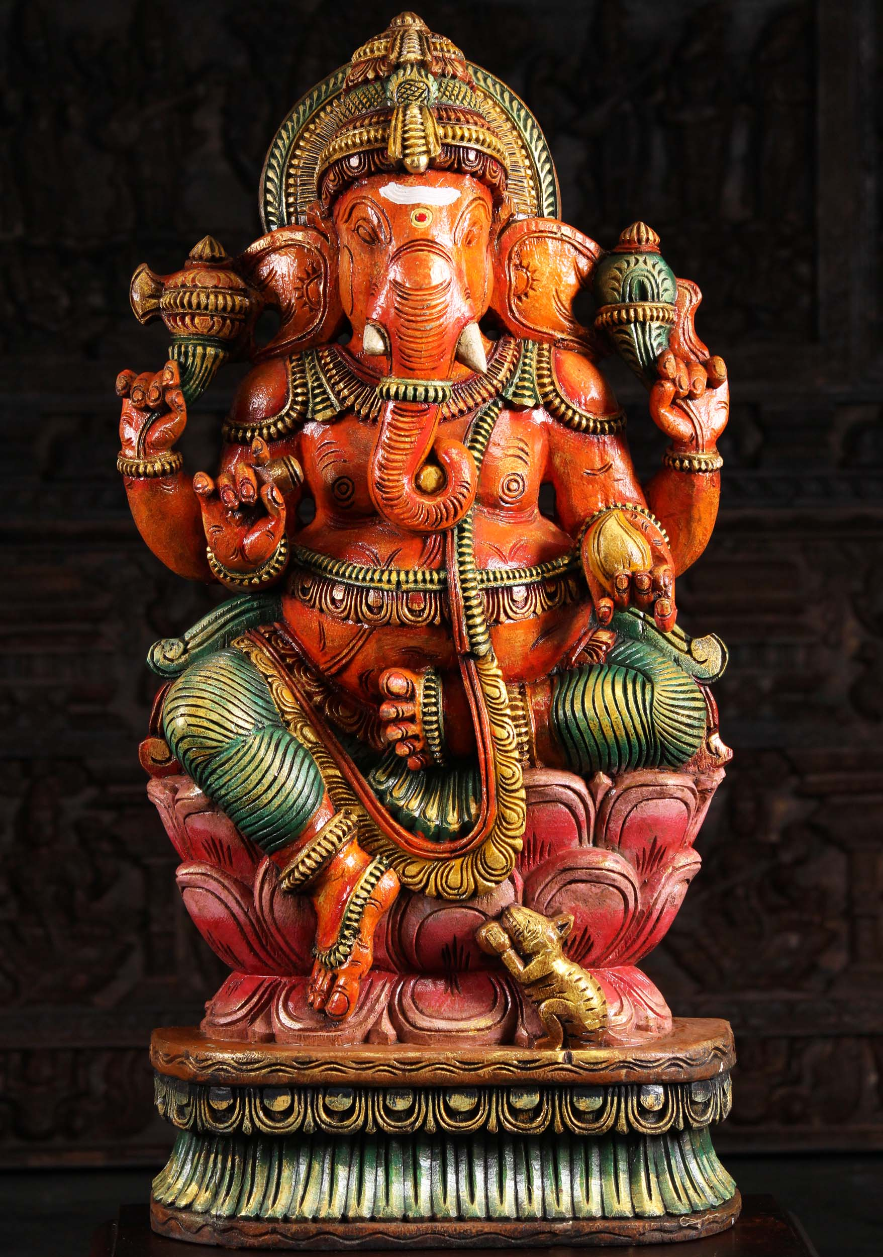 Wooden Ganapathi Statue On Lotus Base 36 Quot 98w9ai Hindu