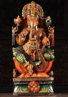 Wooden Ganesh Seated On Lotus Base 36