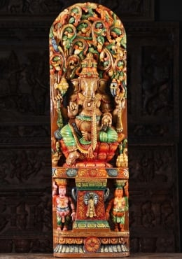 Wood Ganesh Seated With 2 Gana Under Canopy 48
