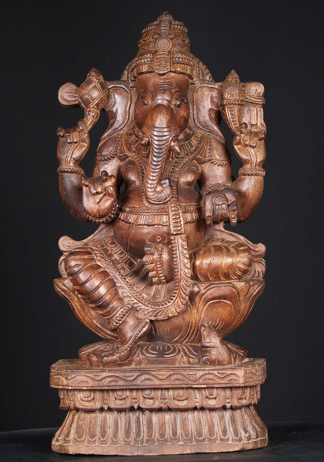 Sold wooden ganesh carving holding tusk quot w hl