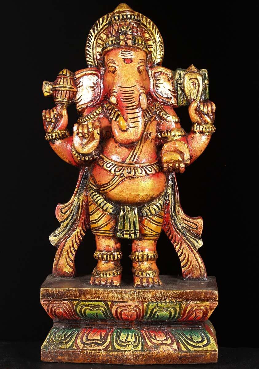 SOLD Wood Standing Ganesh Carving 18quot 76w6q Hindu Gods