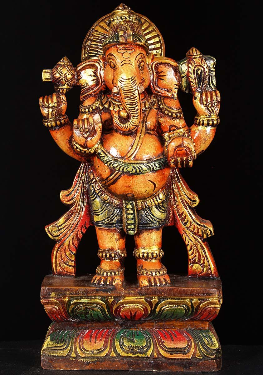 Sold Wooden Ganesh Standing Statue 18 Quot 76w6o Hindu