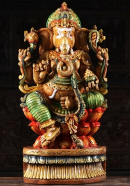 Wood Ganesh Holding Bowl Filled with Laddus 36