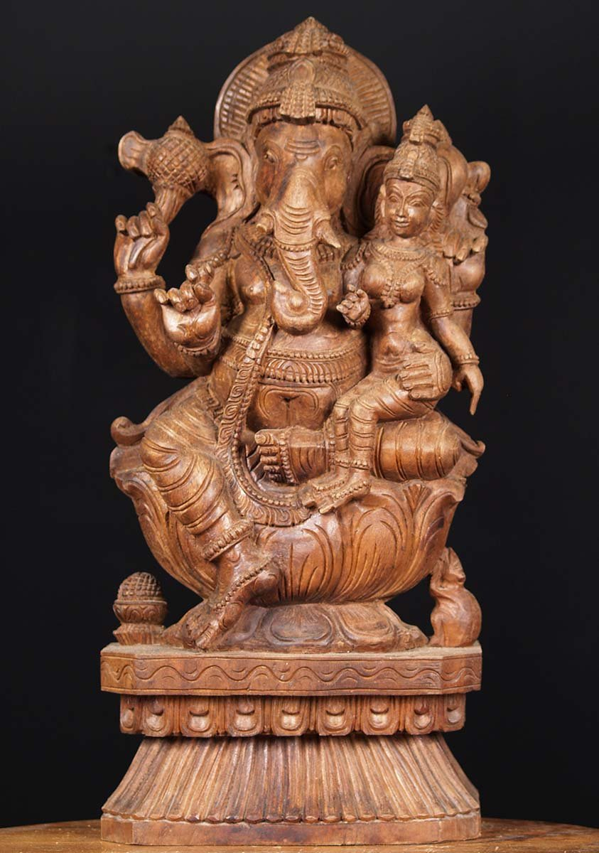 Sold Wooden Ganesh Statue With Lakshmi 24 Quot 76w1ef