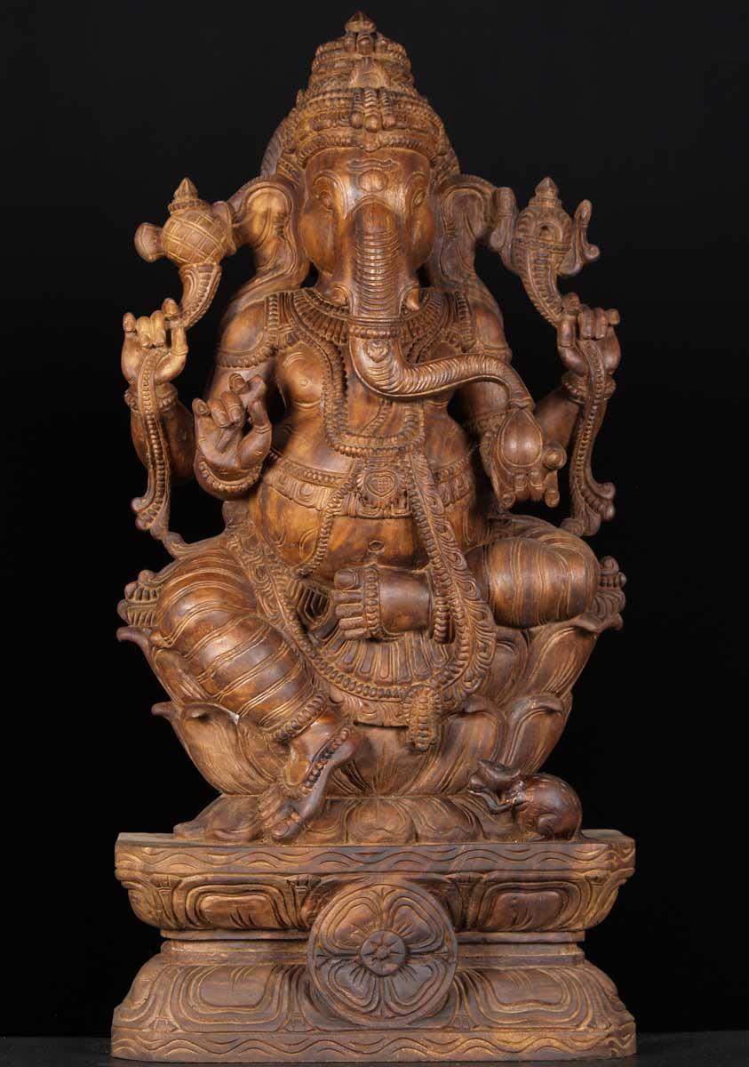 Sold wooden hindu god ganesh statue quot w