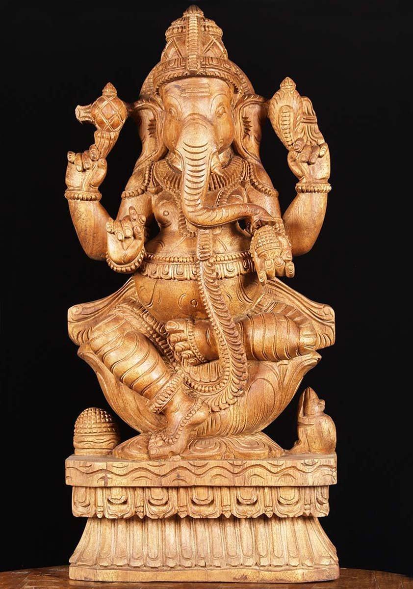 Sold wooden ganesha carving quot w aq hindu gods