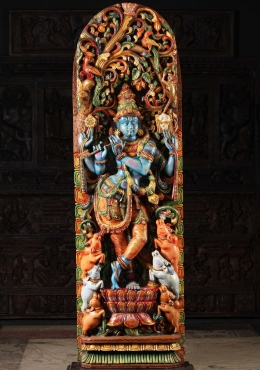Wood Blue Gopal Krishna Statue with Cows 61
