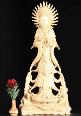 Wooden Kwan Yin Carving Holding Vase 23