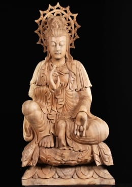 Wooden Kwan Yin Sculpture With Halo 44