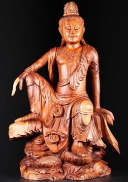 Wooden Seated Kwan Yin Sculpture 44