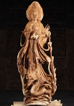 Wooden Kwan Yin With Dragon Statue 82