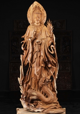 Wooden Kwan Yin With Dragon Statue 81