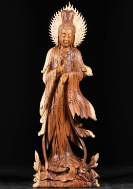 Wood Kwan Yin Pouring Nectar from Vase 61