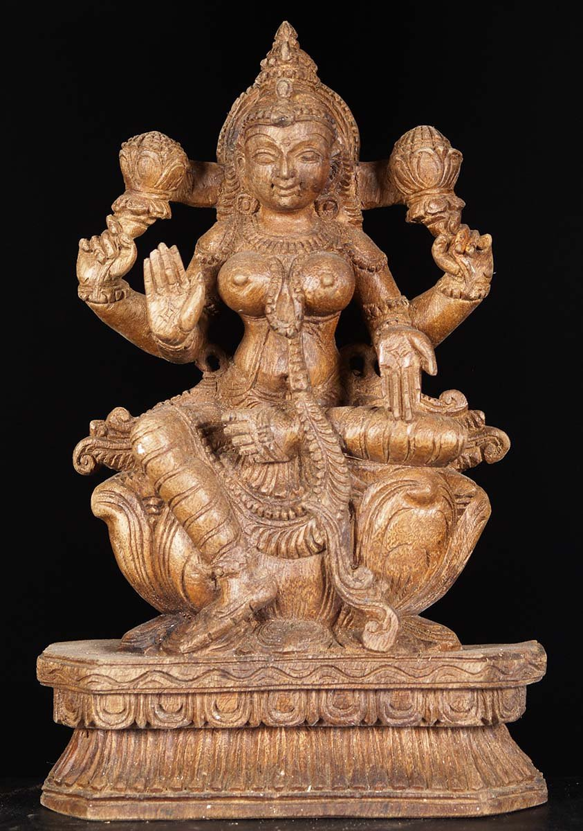 sold wooden small seated lakshmi statue 12 u0026quot    76w6z1