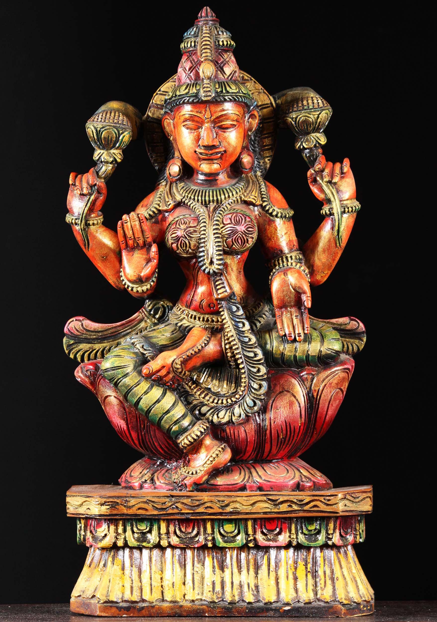 Wooden Lakshmi Statue With Lotus Flowers 24 76w1mn Hindu Gods