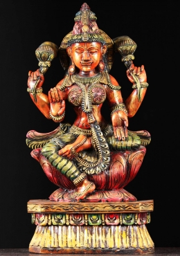 Wooden Lakshmi Statue With Lotus Flowers 24