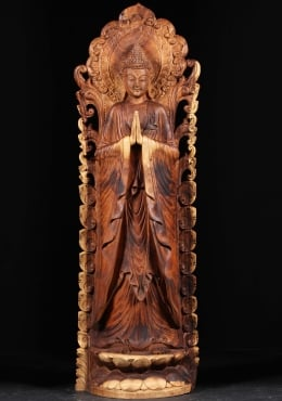Wood Namaste Buddha Statue with Halo 60