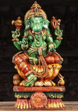 Wooden Green Ganapathi Carving 24
