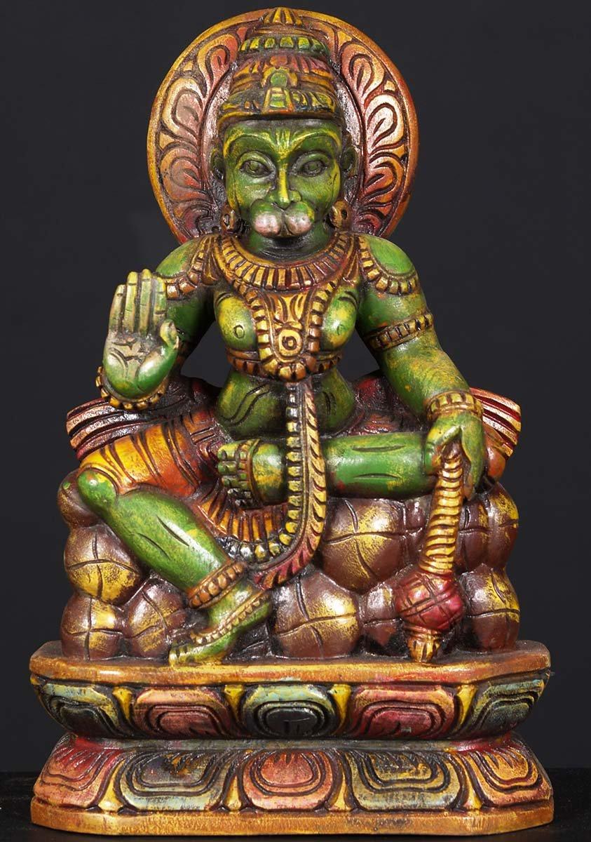 SOLD Wooden Painted Hanuman Statue 12 76w6an Hindu
