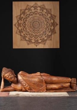 Laying Buddha Carving Beautiful Wood Veins 64