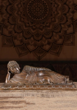 Wooden Reclining Buddha Sculpture 21