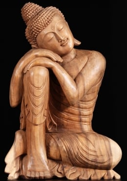 Wooden Hand Carved Relaxing Buddha Statue 32