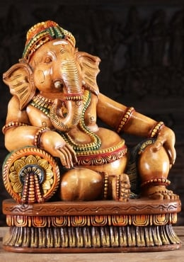 Wooden Relaxing Ganesha Statue on Pillow 24