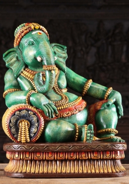 Wood Relaxing Green Ganesh Statue on Pillow 24