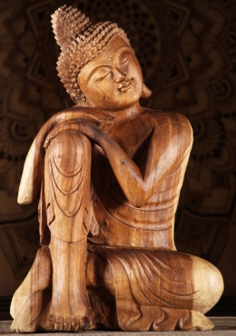 Wood Resting Buddha with Hands on Knee 24