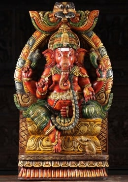 Wooden Seated Ganesh Statue Under Arch 35