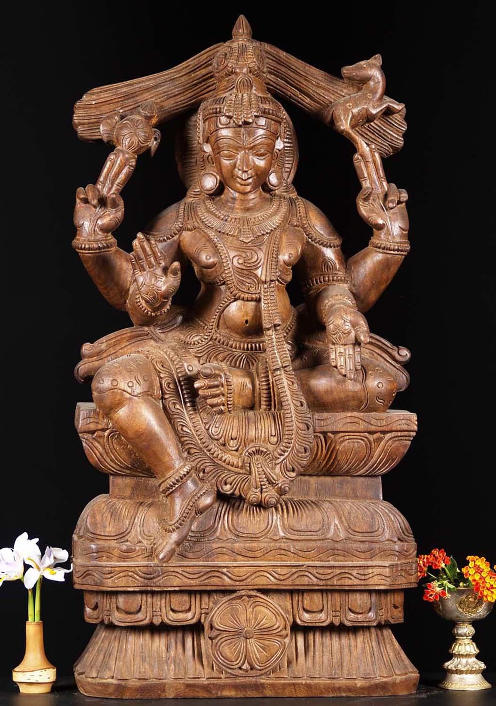 Sold Wooden Abhaya Shiva Statue 30 Quot 76w19di Hindu Gods Amp Buddha Statues