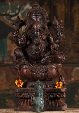 Wood Ganesha Statue with OM Sign on Trunk 24