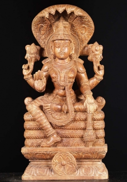 Wood Vishnu Seated on Five Headed Serpent 24