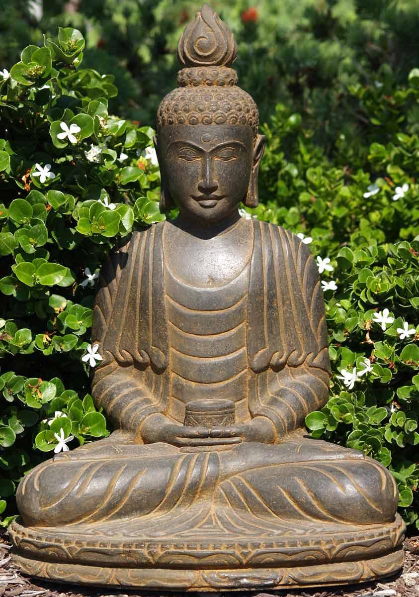 Sold Stone Alms Bowl Buddha Statue 29 Quot 67ls84 Hindu