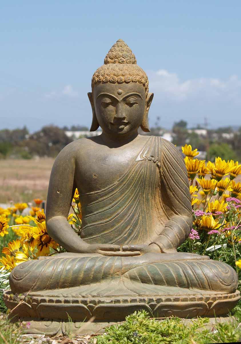 "Buddha Statues For The Garden: SOLD Meditating Stone Garden Buddha 28"" (#67ls12): Hindu"