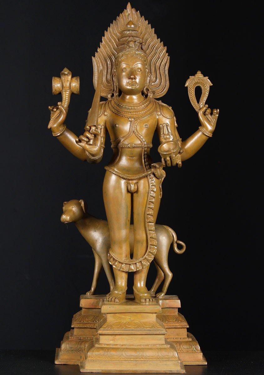 Sold Bronze Bhairava With Dog Statue 24 Quot 73b45 Hindu