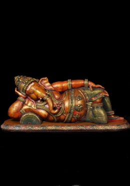 Large Wooden Reclining Ganesh Statue 66